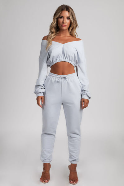 Brianna Wide V-Neck Cropped Jumper - Baby Blue - MESHKI