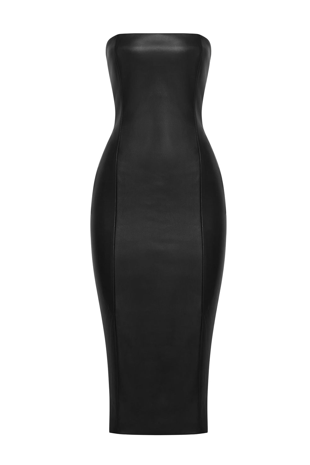 Pamela Strapless Faux Leather Dress - Black