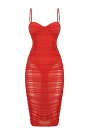 Cora Cupped Mesh Ruched Midi Dress - Red