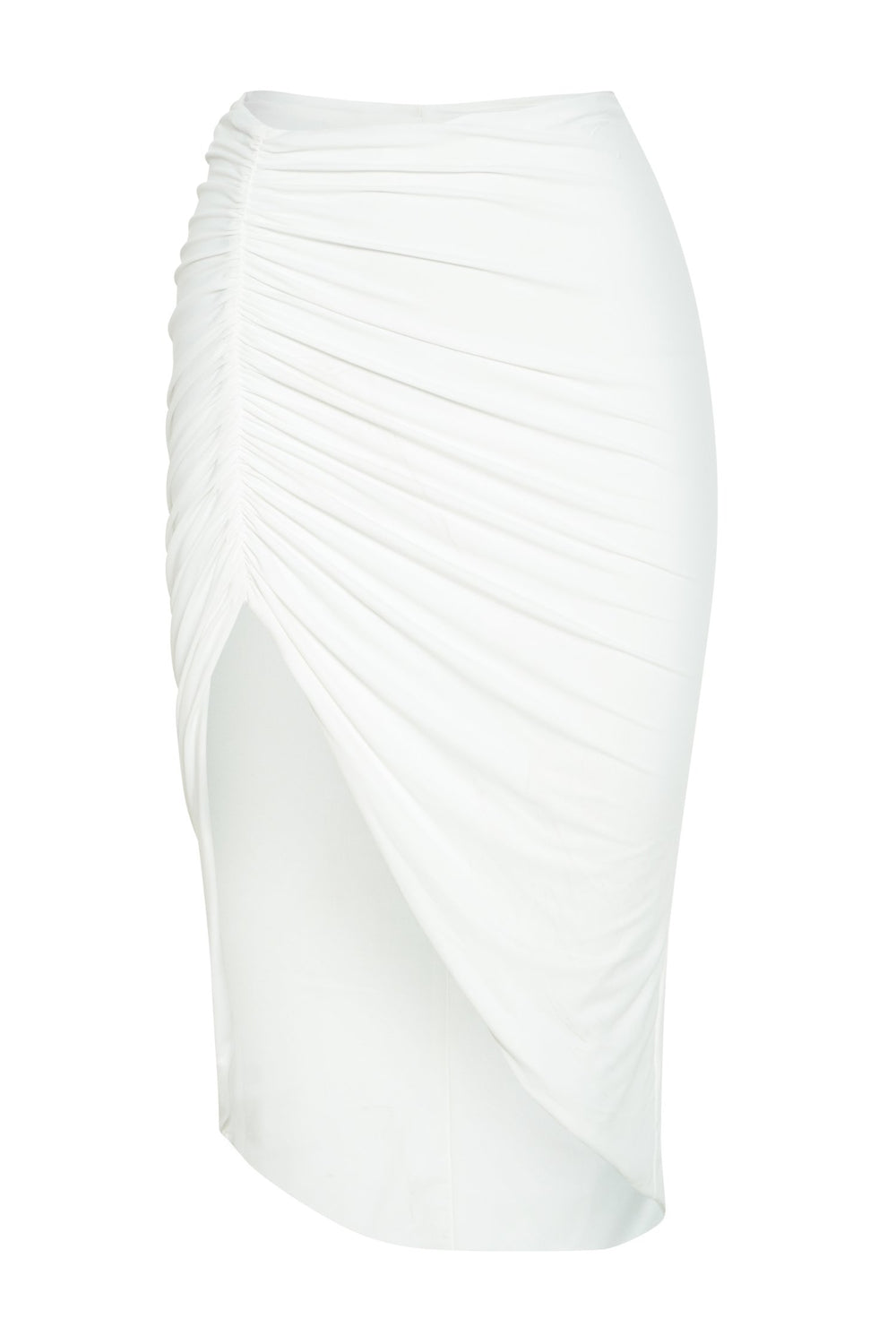 Molly Ruched Side Midi Skirt  - White