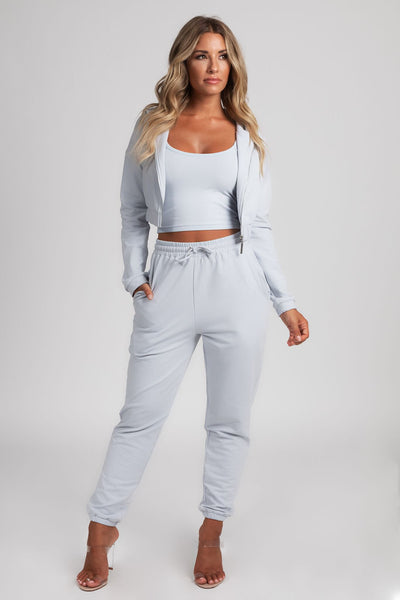 Johanna Zip Through Cropped Loopback Hoodie - Baby Blue - MESHKI