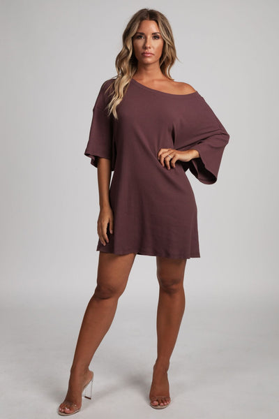 Kenisha Ribbed T - Shirt Dress - Mauve - MESHKI