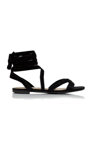 Daska Wrap Suede Sandals - Black