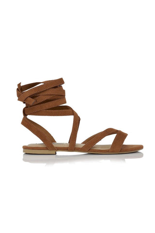 Daska Wrap Suede Sandals - Dark Tan