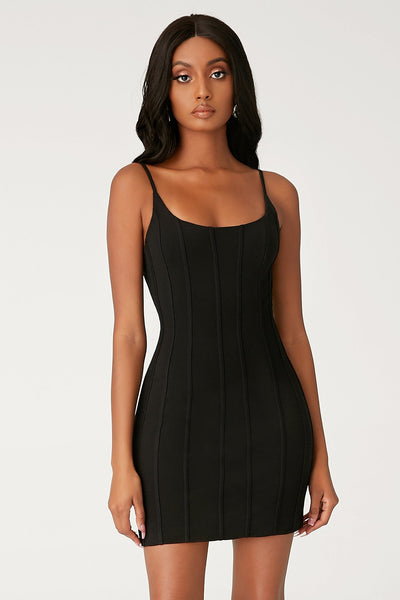 Romily Panelled Bodycon Mini Dress - Black