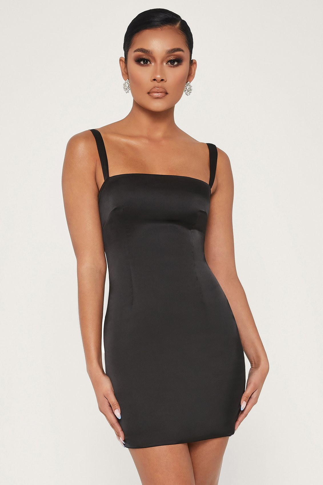 Mazie Satin Bodycon Dress - Black - MESHKI