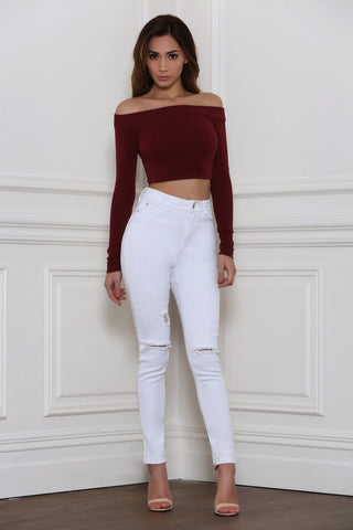 Tabitha Distressed High Waisted Skinny Jeans - White