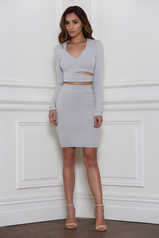 Therese Overlapped Long Sleeve Crop Top - Dove