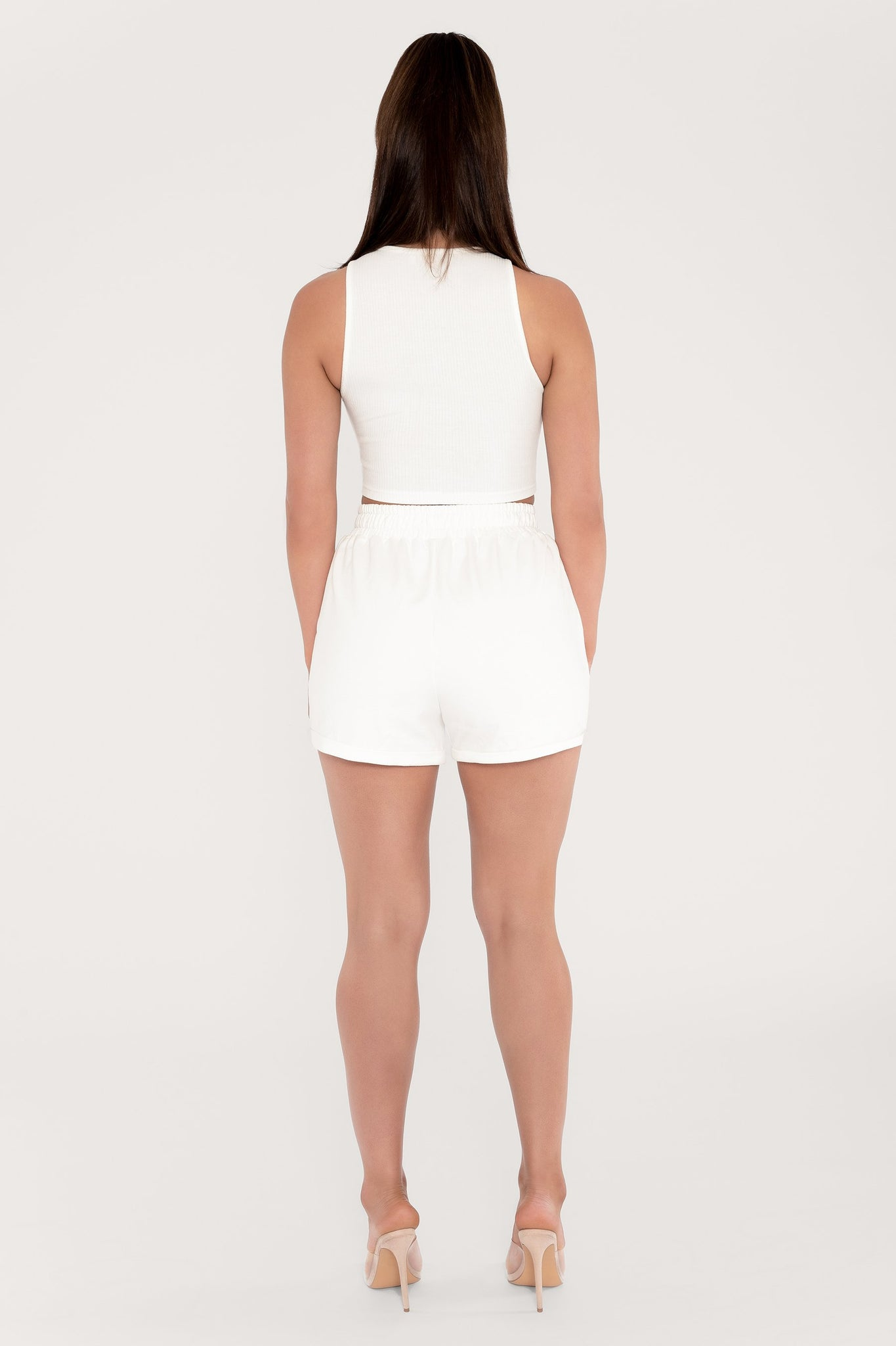 Tahlia Loopback Shorts - White - MESHKI