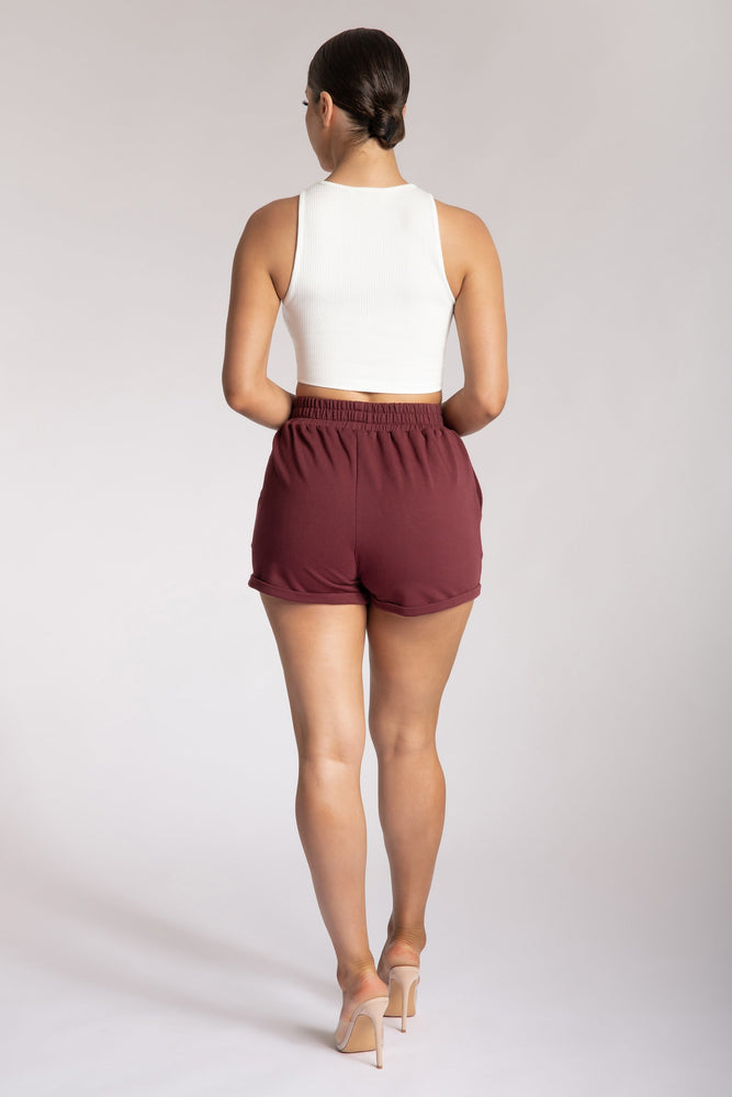 Tahlia Loopback Shorts - Wine - MESHKI