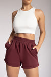 Tahlia Loopback Shorts - Burgundy