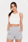 Becka Rib Sleeveless Crop Top - Black