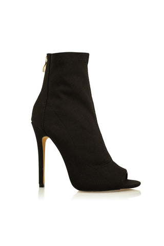 Giselle Peep Toe Ankle Boot - Black Stretch