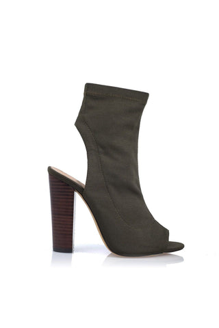 Sebastian Cut-Out Ankle Boot - Khaki