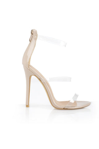 Nadia Strappy Perspex Heels - Nude Clear