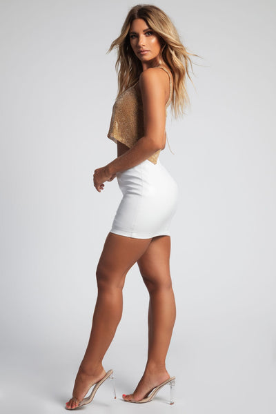 Juliana Faux Leather Mini Skirt - White - MESHKI
