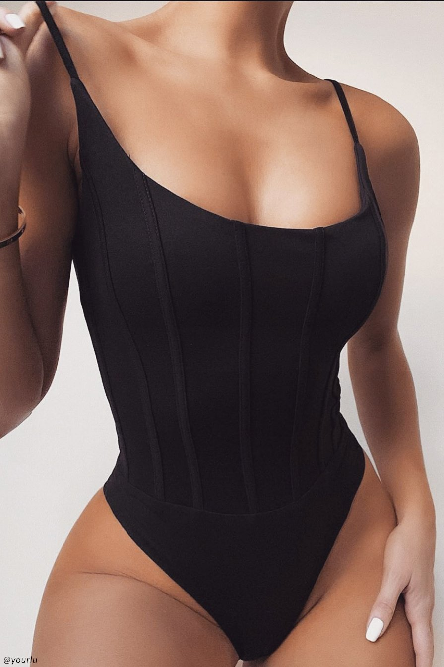 Elvina Panelled Bodysuit - Black - MESHKI