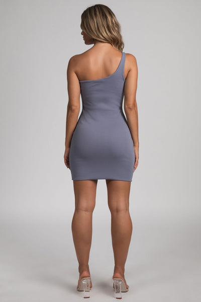 Scarlett One-Shoulder Bodycon Rib Mini Dress - Grey - MESHKI