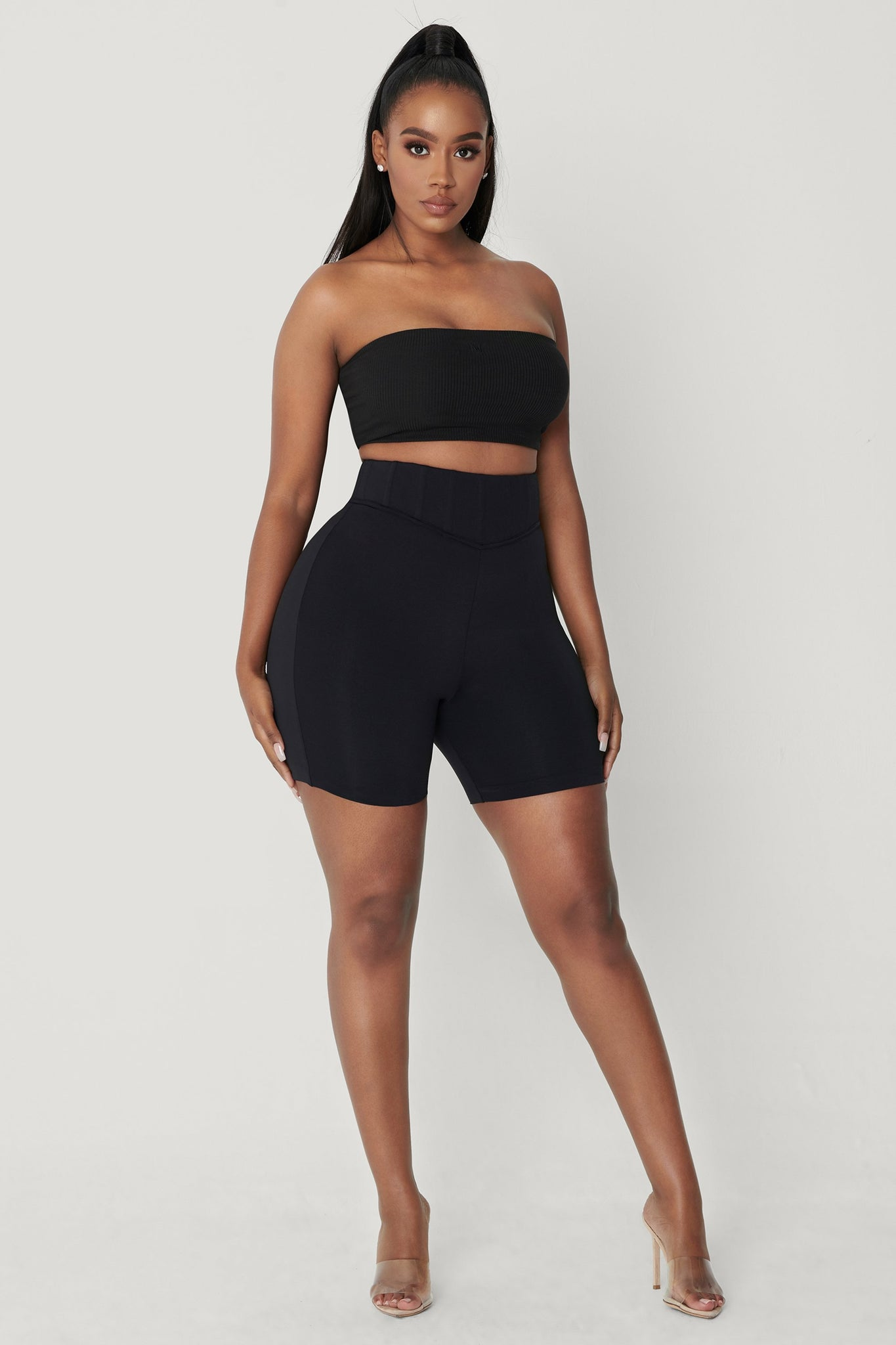 Chaya High Waisted Boned Bike Short - Black - MESHKI
