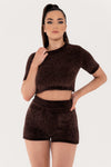 Carmela Chenille Shorts - Chocolate