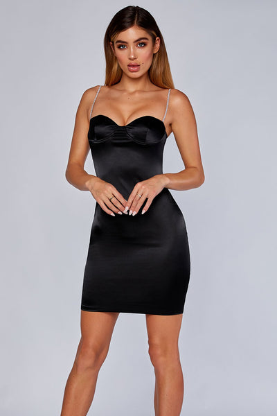 Chantel Thin Diamante Strap Satin Mini Dress - Black - MESHKI