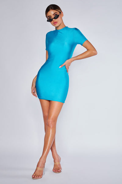 Charlee Short Sleeve Mini Dress - Neon Turquoise - MESHKI