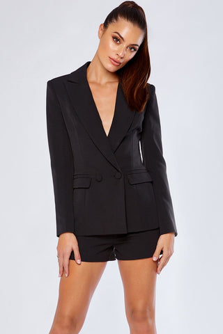 Charlize Double Breasted Long Blazer - Black - MESHKI