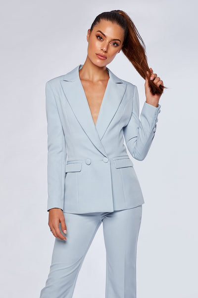 Charlize Double Breasted Long Blazer - Sky Blue