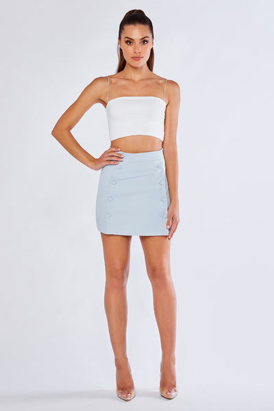 Charlize Tailored Wrap Skirt - Sky Blue - MESHKI