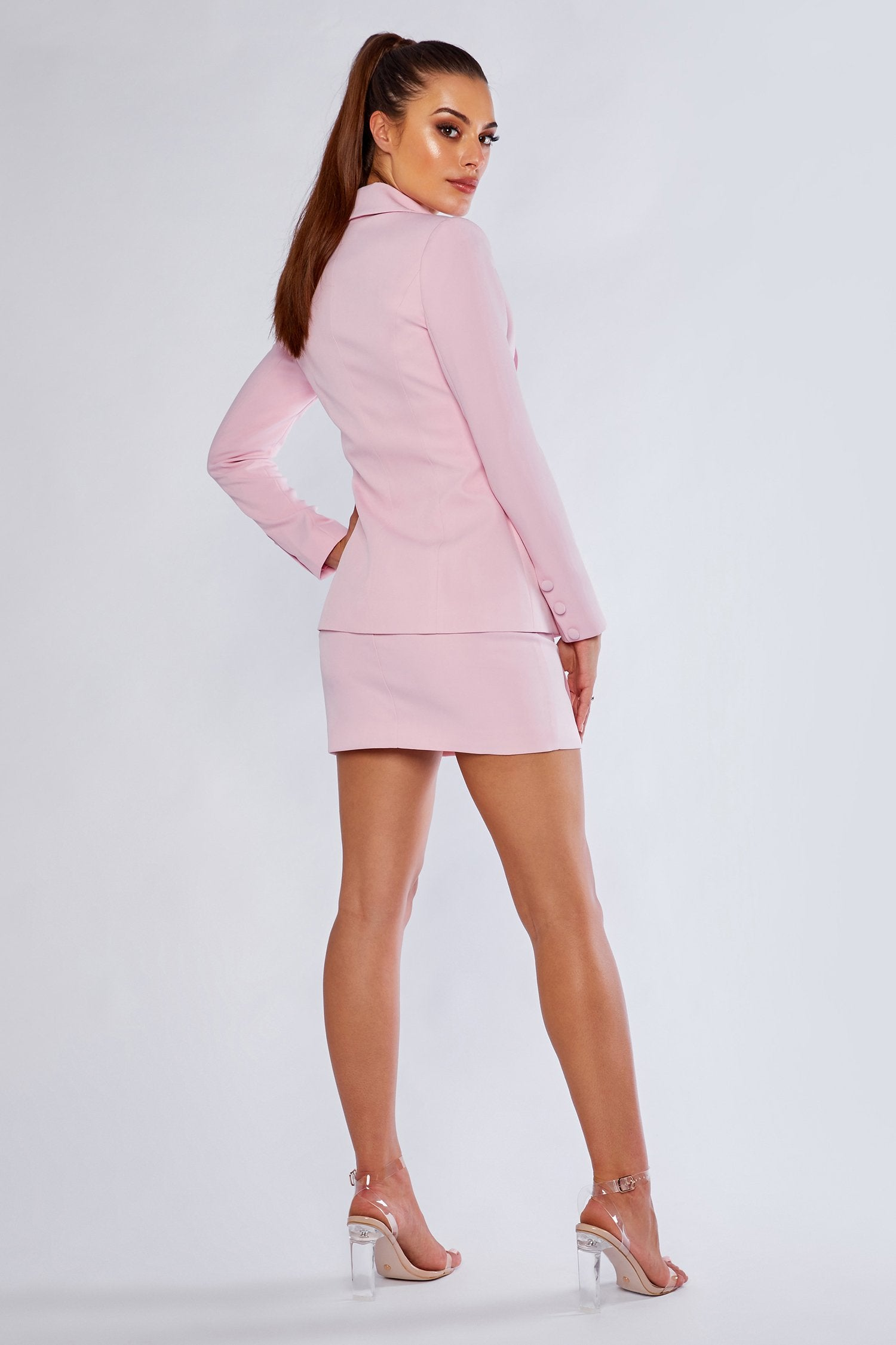 Charlize Double Breasted Long Blazer Light Pink