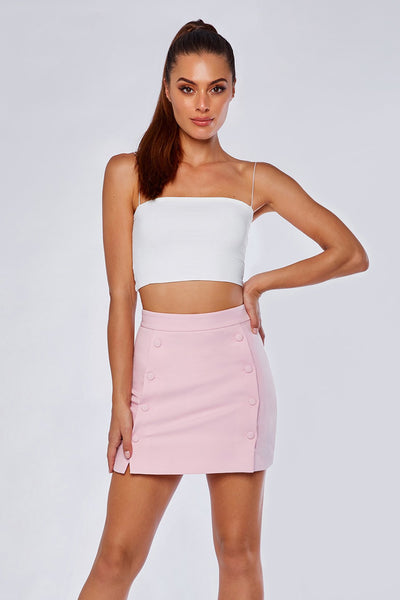 Charlize Tailored Wrap Skirt - Light Pink - MESHKI