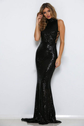Gold Gown - Black Sequin