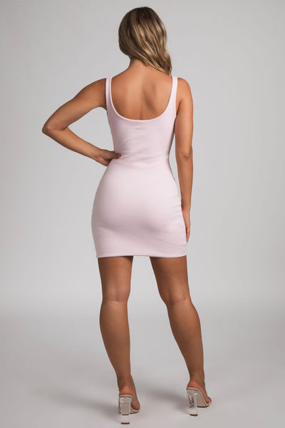 Danica Ribbed Body-con Mini Dress - Baby Pink - MESHKI