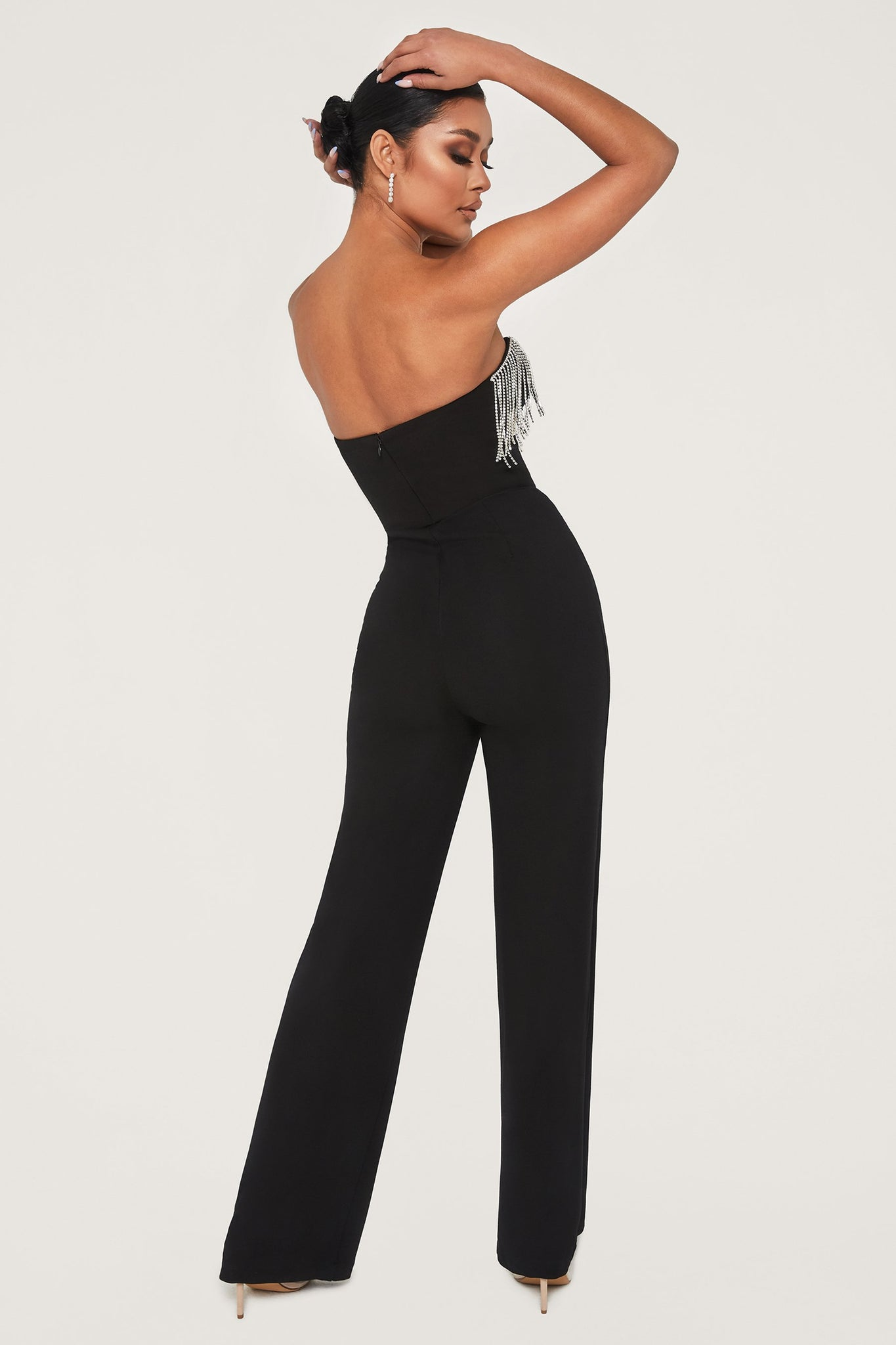 Bellia Diamante Fringe Strapless Jumpsuit - Black - MESHKI