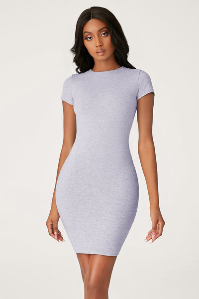 Kennedy Short Sleeve Mini Dress - Grey Marle