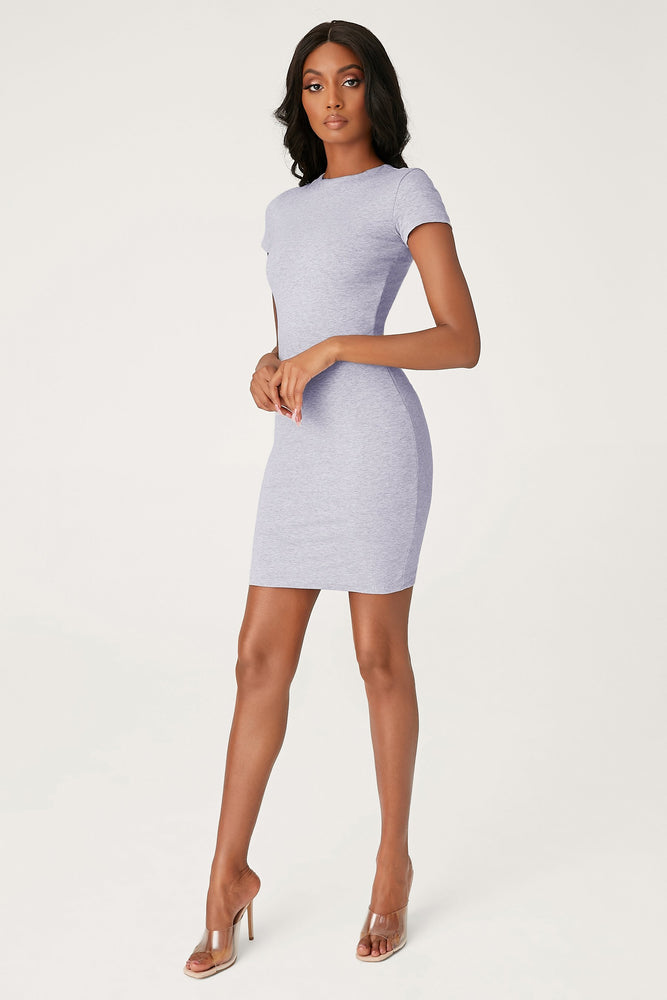 Kennedy Short Sleeve Mini Dress - Grey Marle - MESHKI