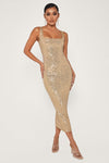 Blythe Sequin Square Neck Midi Dress - Rose Gold