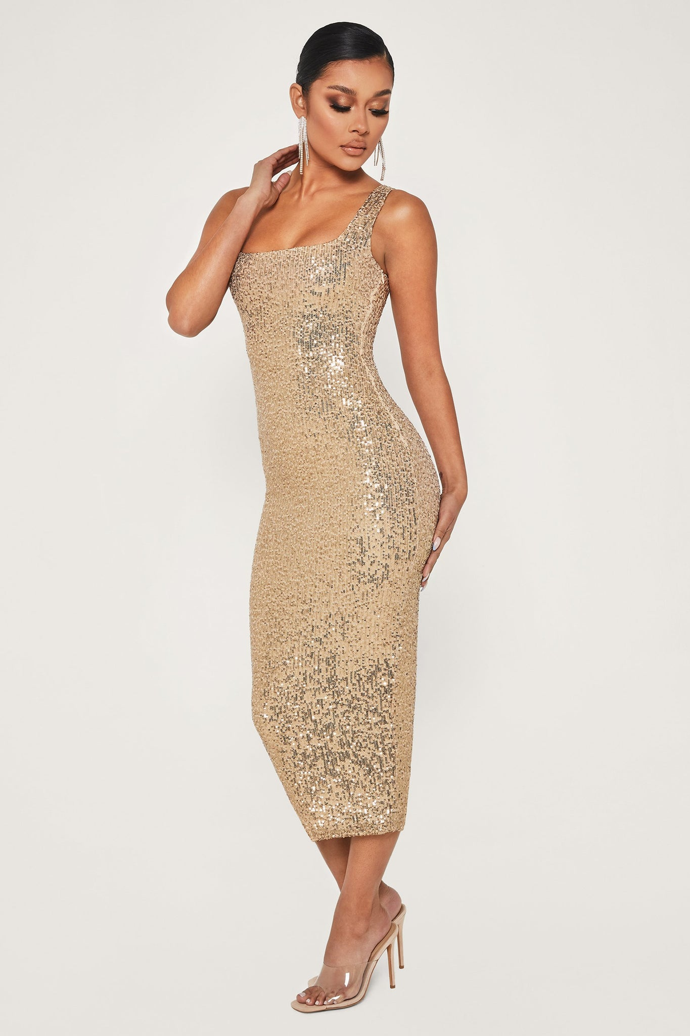 Blythe Sequin Square Neck Midi Dress - Rose Gold - MESHKI