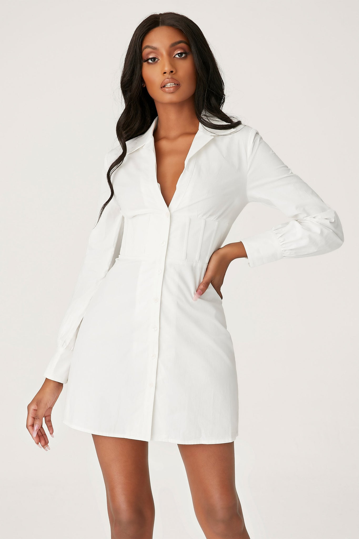 Adaline Corsetted Waist Shirt Dress - White - MESHKI