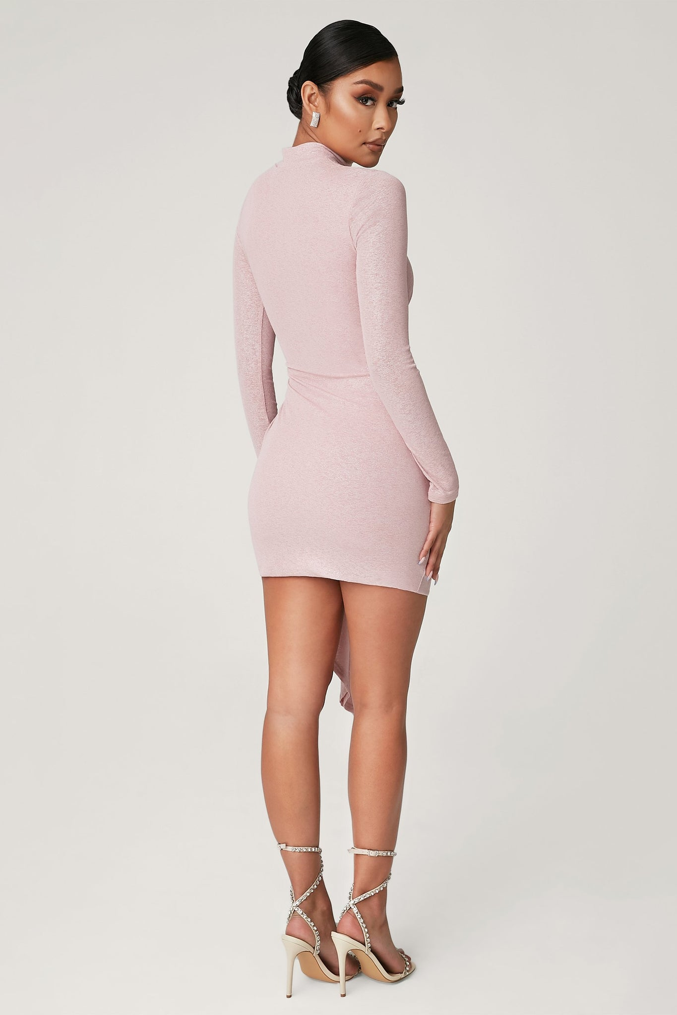 Sessy Mini Long Sleeve Ruched Dress - Pink - MESHKI