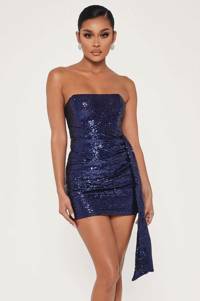 Selma Sequin Strapless Sash Ruched Dress - Navy