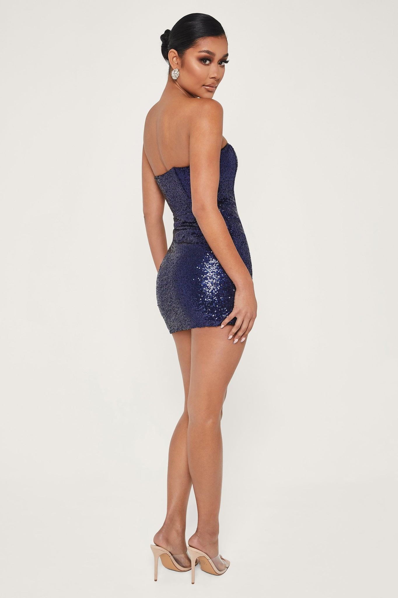Selma Sequin Strapless Sash Ruched Dress - Navy - MESHKI