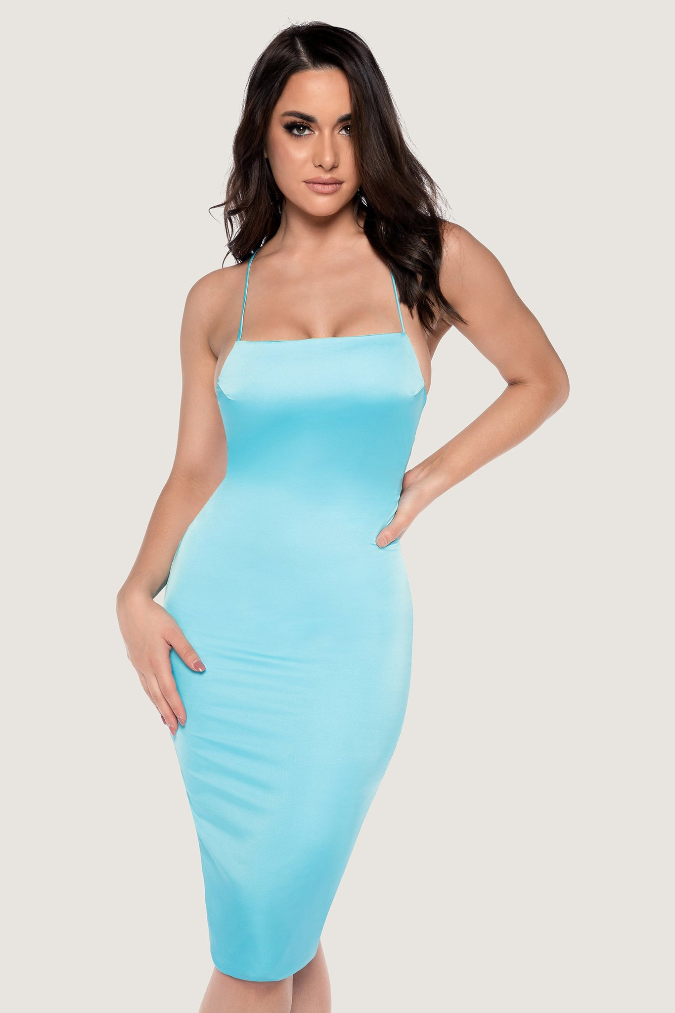 Bebe Thin Strap Lace Up Midi Dress - Baby Blue - MESHKI