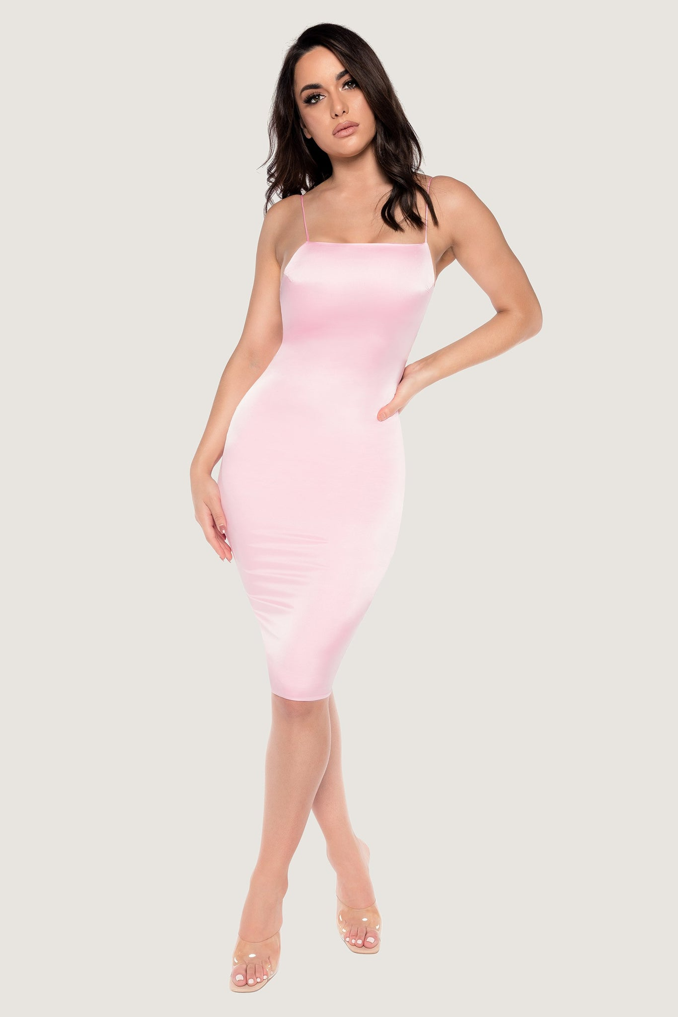 Bebe Thin Strap Lace Up Midi Dress - Baby Pink - MESHKI