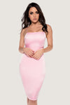Bebe Thin Strap Lace Up Midi Dress - Baby Pink