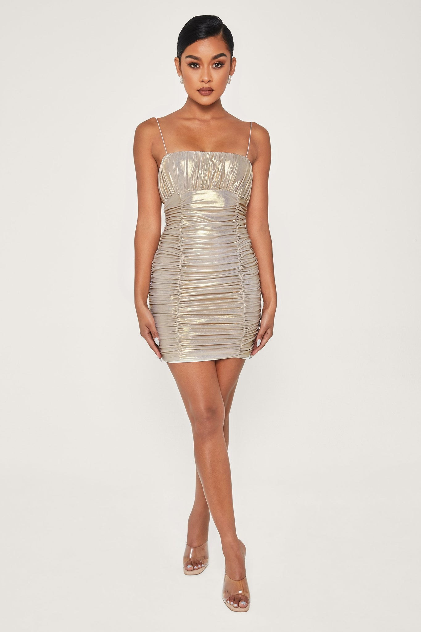 Celena Ruched Thin Strap Mini Dress - Gold - MESHKI