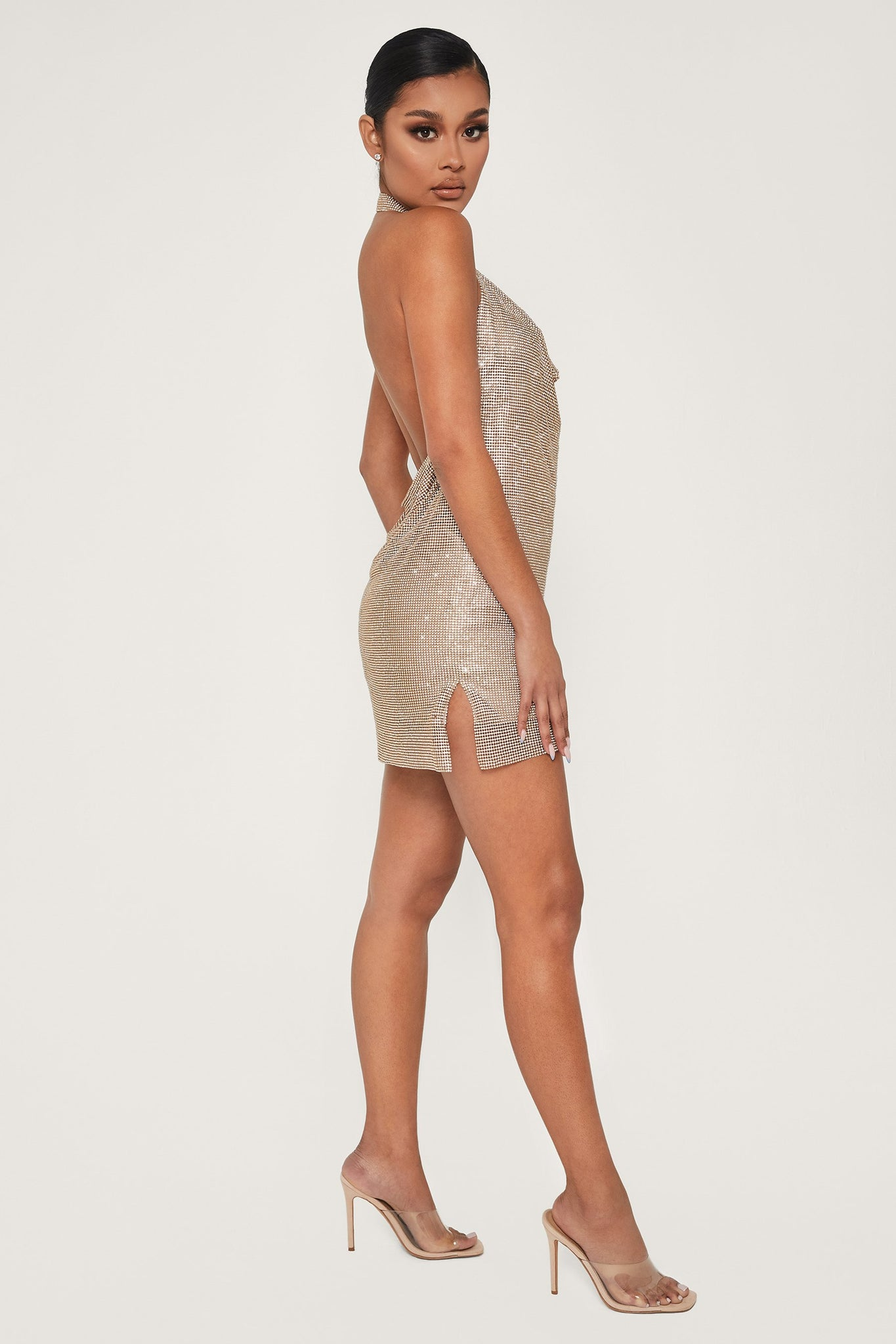 Meilani Low Back Diamante Mesh Mini Dress - Gold - MESHKI