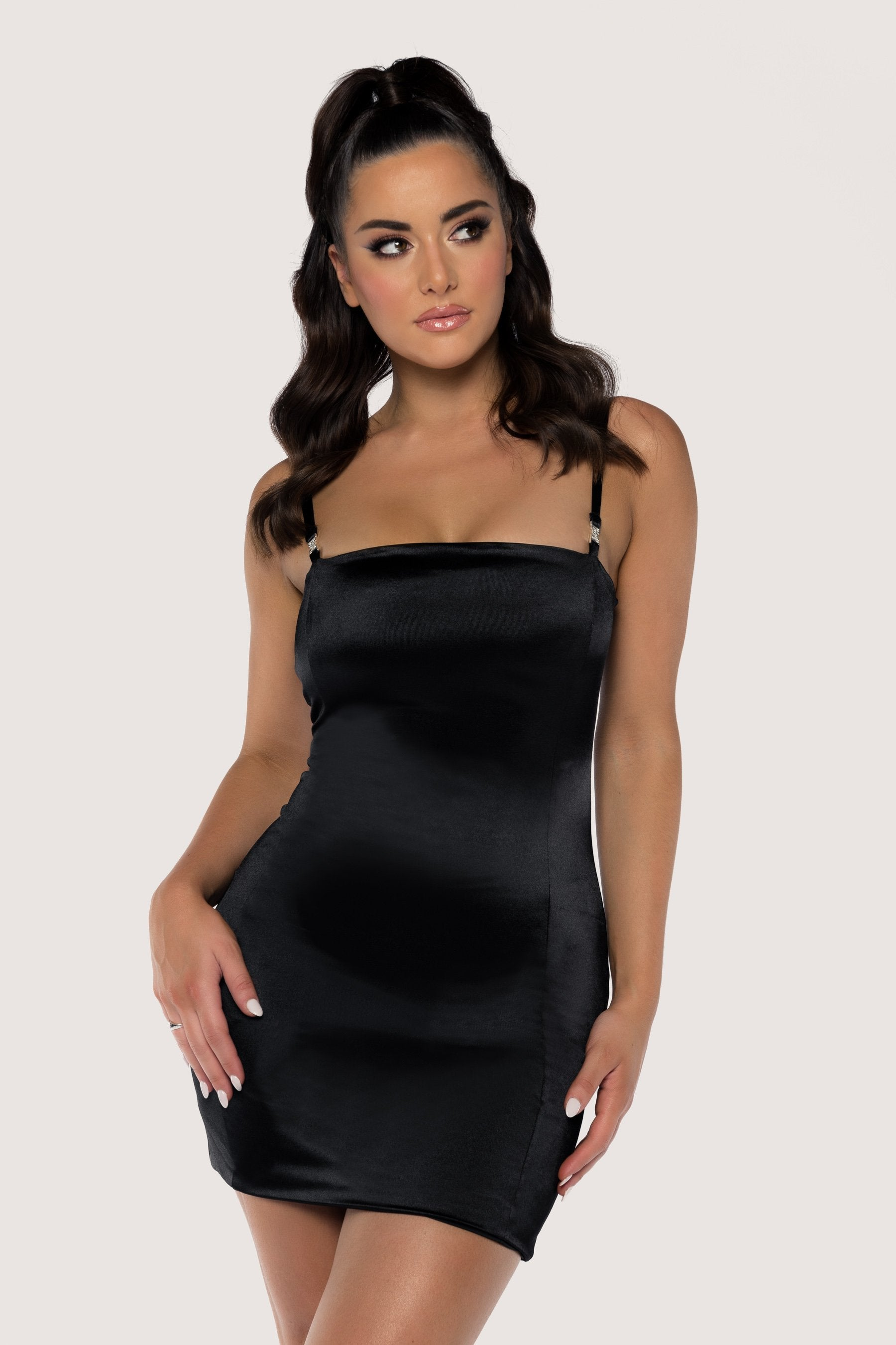 Black bodycon dress thin straps and boots