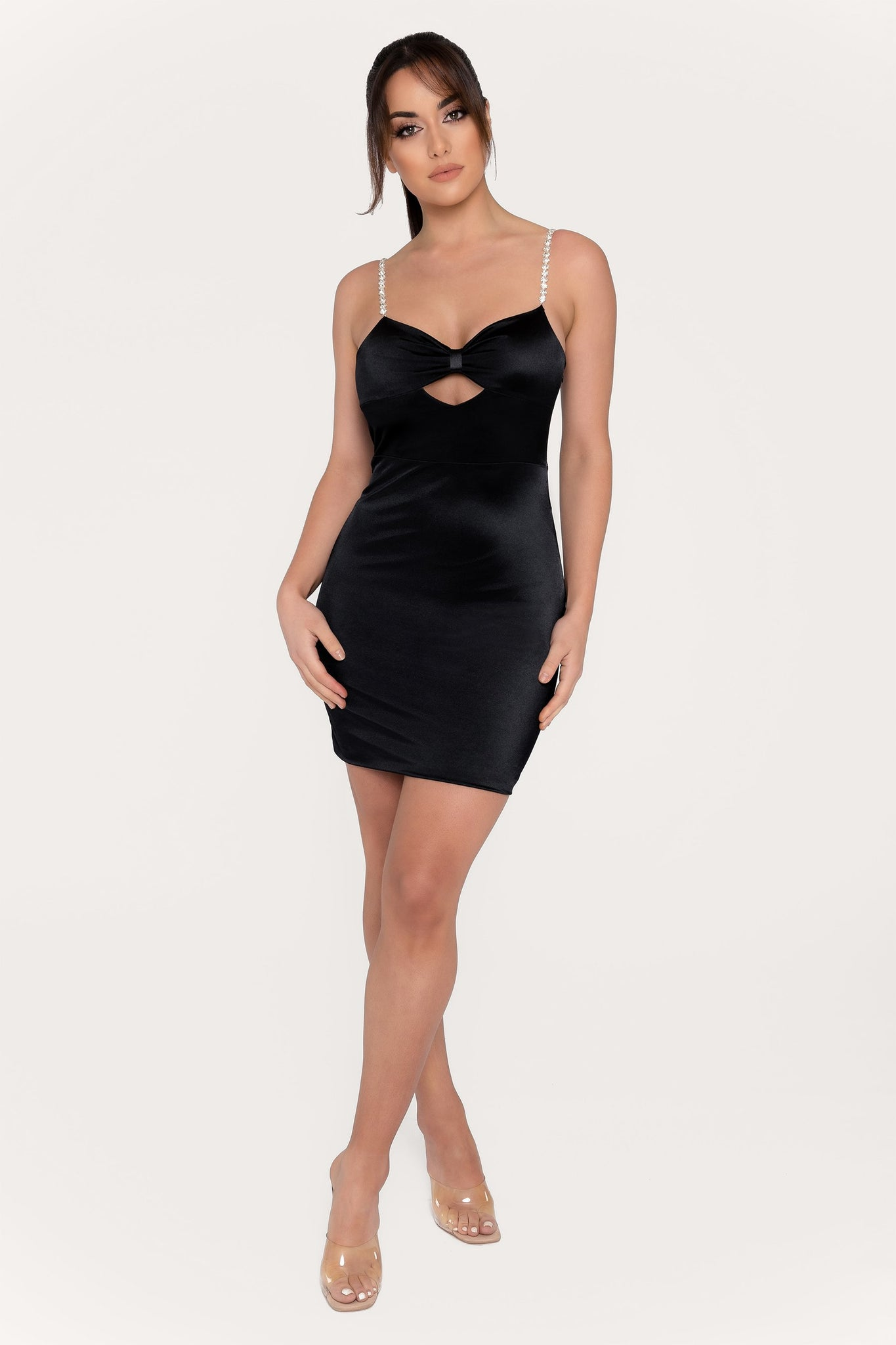 Arianna Diamante Strap Cut Out Mini Dress - Black - MESHKI