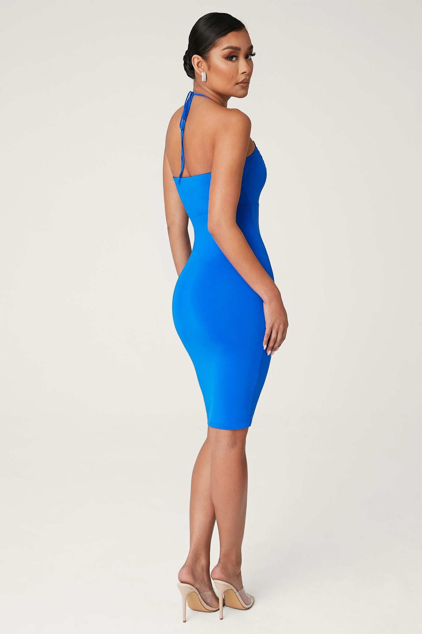 Winifred Key Hole Midi Dress - Bright Blue - MESHKI